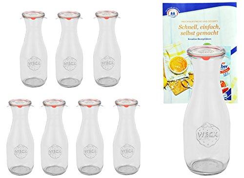 MamboCat 8er Set Weckgläser 530 ml Saftflaschen mit Deckel Einkochring Klammern I Original Weck Glasflasche Einweckflaschen für Säfte Saucen Öle UVM I inkl. Diamant-Zucker Gelierzauber Rezeptheft