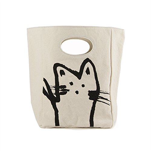 Fluf Canvas Lunch Bag   Lunch Box for Men, Women, Kids   Organic Cotton Meal Tote with Built-In Handle, Hey Cat