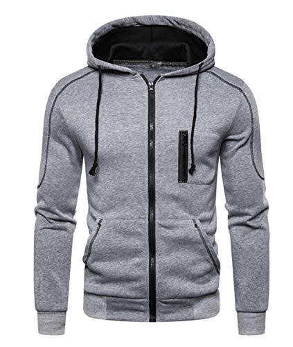 Cyiozlir Kapuzenpullover Herren mit Reißverschluss Sweatjacke Hoodies männer Sweatshirt Mantel mit Kapuzen (Grau, Large)