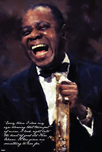 Poster, Motiv: American Trompeter / Composer / Vocalist / Blowing That Trompet / Zitat, 61 x 91,4 cm