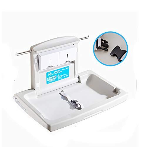SSZY Wickelkommode wickelaufsatz wickeltisch Horizontaler Wand-Wickeltisch An Der Wand, Klappwindel-Wickelstation mit Sicherheitsgurten und Aufbewahrung für Gewerbliche Toiletten