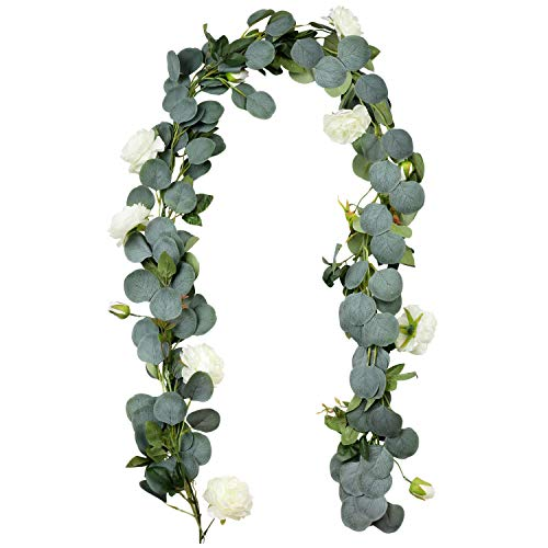 Outgeek 6.5' Long Artificial Eucalyptus and Peony Flower Vine Hanging Greenery Eucalyptus Garland Artificial Plants Ivy Home Wedding Decorations Indoor Outdoor
