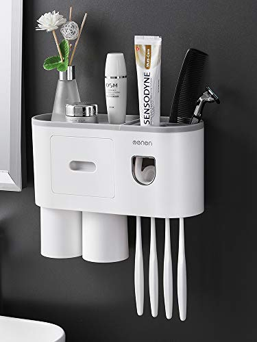 TuCao Distributeur Automatique de Dentifrice Kit de Presse Mural avec Support pour Brosse à Dents, 4 Fentes pour Brosse à Dents avec Couvercle, Organiseur de brosses à Dents Multifonction (2 Tasses)