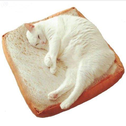 urgrace 40x 40cm Cute weichen, weißen Brot Pet Katze Schlafplatz Pad Kissen Kinder Geburtstag Geschenk Home Bakery Shop Dekoration Creative Toasted Brot Kissen Plüsch Spielzeug