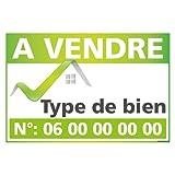 Panneau Immobilier Personnalisable à Vendre avec Oeillets aux 4 Coins - Vert - Plastique Rigide AKILUX 3,5mm - Dimensions 600x400 mm - Protection Anti-UV