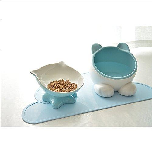 CutePet Slow Eating Dog Bowl Interactive Feeder Cat Bowl Pet Double Bowl Garfield Bowl Ceramic Flat Face Cat Slanting Bowl Teddy Dog Bowl Cat Rice Bowl BL-004, blue
