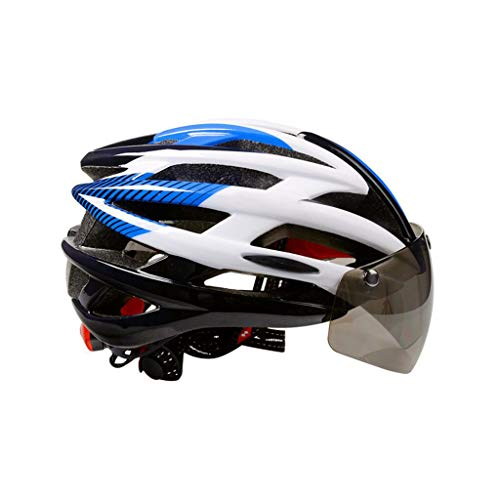 MXZ Fahrrad Helm, Rennrad-Mountainbike-Helm Einstellbar Licht Gewicht Fahrradhelm Für Erwachsene - Magnetische Schutzbrille (Farbe : Blau)