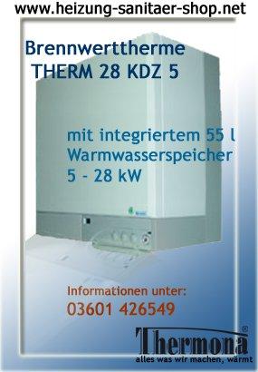 Gastherme Brennwerttherme Gaskombitherme 28 KDZ 5 für Erdgas E mit 55 l Speicher