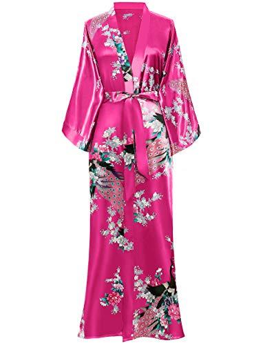 BABEYOND Kimono de Seda Vestido de Satén Kimono Pavo Real Novia Pijamas de Seda Bata de Satén (Rojo)