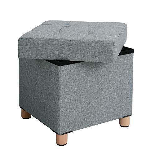 SONGMICS Sitzhocker, Faltbare Sitztruhe, gepolstert, mit Deckel, Füße aus Massivholz, platzsparend, bis 300 kg belastbar, für Wohnzimmer, Flur, Kinderzimmer, hellgrau LSF14GYX