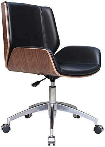 WSDSX Office Chairs Office Chair Office Chair,Swivel Chair in The Company's Reception Room,Curved Wood Back Study Chair,Home Computer Chair, Simple and Stylish (Color : Roller, Size : 90 * 60