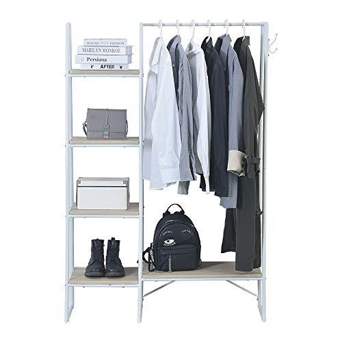 ONG Garment Rack with Four Shelves Freestanding Hanger Multi- Functional Clothes Rack White