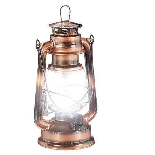 Relaxdays, Kupfer Sturmlaterne LED, Retro Sturmlampe als Fensterdeko oder elektrische Gartenlaterne, batteriebetrieben