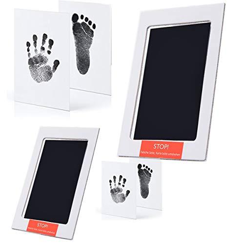 Baby Handabdruck- und Fußabdruck-Set, sichere, ungiftige Stempelkissen, saubere Tinte ohne Tinte, Haustierpfotenabdrücke, mit 4 zusätzlichen Aufdruckkarten für Neugeborene 0–6 Monate