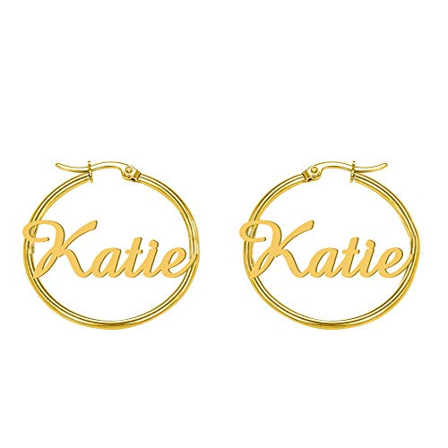Personalize it with Katie Name Earrings for Women Gothic Style Monogram Hoop Earring Personalized Name Earring Custom Made with Any Name