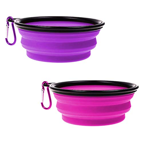 OUOU 2 Pack Collapsible Dog Bowl,Foldable Expandable Cup Dish for Pet Dogs and Cats Food Water Feeding Portable Travel Bowl Pink and Purple witer Free Carabiner
