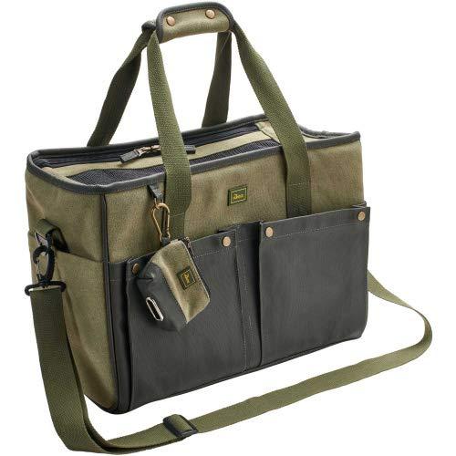 HUNTER Madison Trage- und Transporttasche für kleine Hunde und Katzen bis 7 Kg, mit Baumwolle, Khaki, 40 x 20 x 30 cm Farbe Khaki, Größe one-Size