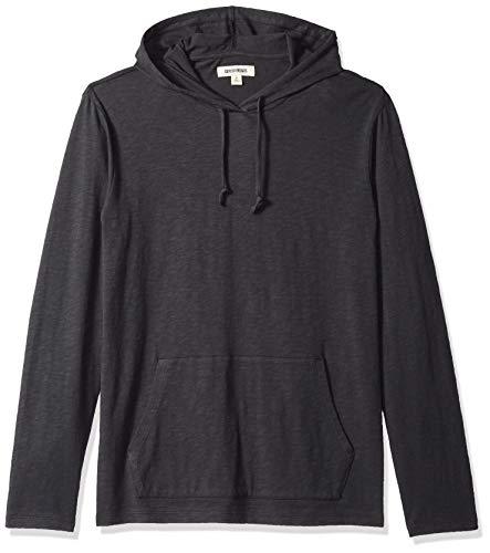 Marchio Amazon - Goodthreads, maglietta leggera da uomo, con cappuccio, in filato di cotone, Nero (caviar/black), US S (EU S)