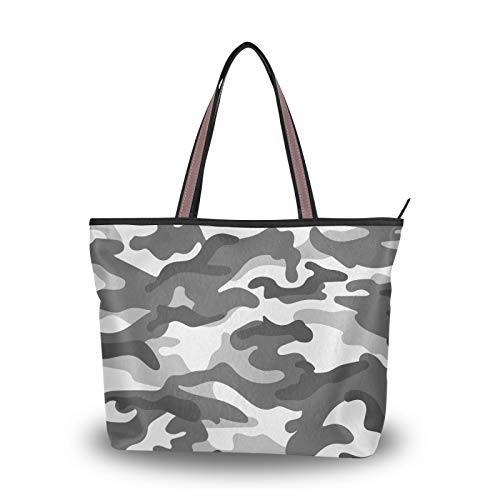 Handbags Camo Vintage Shoulder Bags Light Weight Strap for Women Girls Ladies Student Purse Shopping Tote Bag