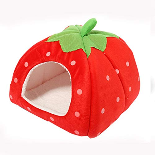 zhouweiwei Strawberry Cottage Small Dog Kennel Bed Cute Shape Pet Dog House Sofá Cama Nido para Mascotas Estera Productos para Perros cómodos