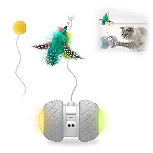 Decdeal Juguete Automático Gatos Bola de Gato Luminoso con Ruedas Interactivo Recargable Carga USB Pelota Interactiva para Gato con Pumas Luz Colorida para Gatitos