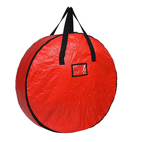 UMARDOO Decorative Wreath Storage Bag,Christmas Wreath Storage Container with Handles,Made of Durable 600D Oxford Polyester Material (Red, 30x30x8 in)
