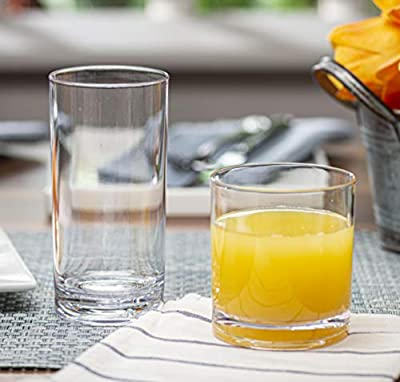 Elegant Plastic Drinking Glasses Set of 12 - Attractive Clear Acrylic Tumblers - Unbreakable Drinkware Set Ideal for Indoor and Outdoor - Kid Friendly