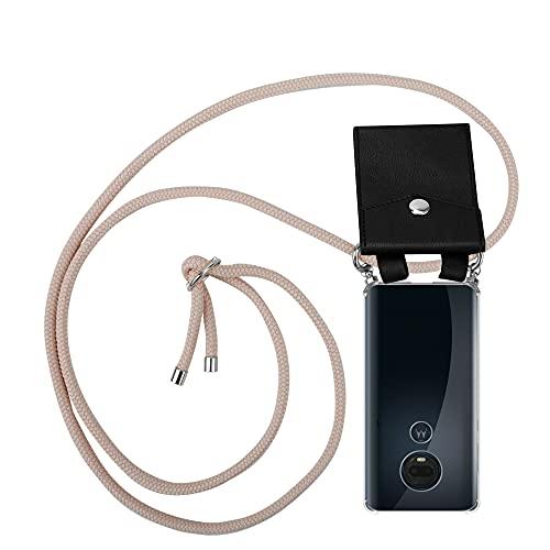 Cadorabo Funda con Cuerda para Motorola Moto G7 / G7 Plus en Oro Rosa Perlado – Cubierta Protección Collar para Colgar di TPU Silicona Transparente con Anillos Argentos, Cordon y Estuche Removible