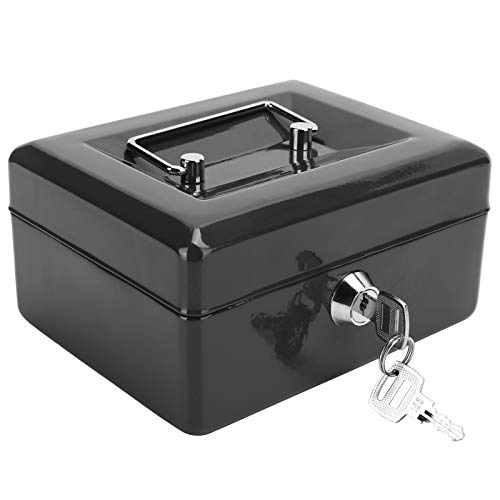 Caja de seguridad, caja de seguridad, caja de seguridad, caja de seguridad con llave, mini caja de almacenamiento de dinero portátil de 6 pulgadas para el hogar(black)