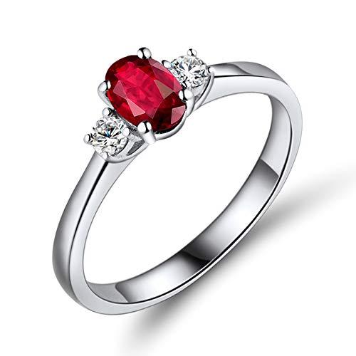 AnazoZ Anillo Rubi Mujer,Anillos de Mujer Oro Blanco 18K Plata Rojo Oval Rubí Rojo 0.5ct Diamante 0.13ct Talla 23,5