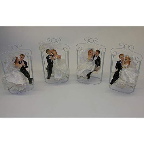 Koi Hochzeitspaar Brautpaar auf Hollywood-Schaukel Tisch Deko Skulptur Liebespaar A - Herr rechts