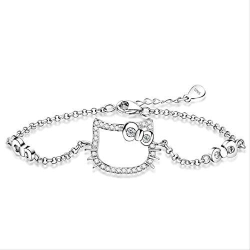 Xianglsp Co.,ltd Collar Simple Cartoon S925 Silver Bracelet Set Didio Kitten Sweet Little Cool Cientos De Mujeres S Jewelry