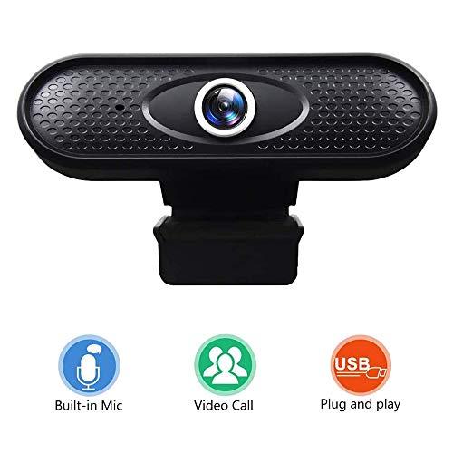 Webcam - Webcam PC para Ordenador Cámara Web Full HD 720P con micrófono, computadora portátil PC Webcam de Escritorio USB 2.0 Webcam para videollamadas, Estudios, conferencias, grabación