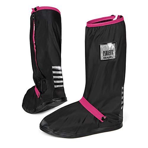 PERLETTI Überschuhe Schwarz Wasserdicht Beständig Rutschfest - Schuhüberzieher Wiederverwendbar Verstärkt mit Reflektorstreifen - Hohe Regenschutz Galoschen für Regen Schnee (XS (33/35 EU), Pink)