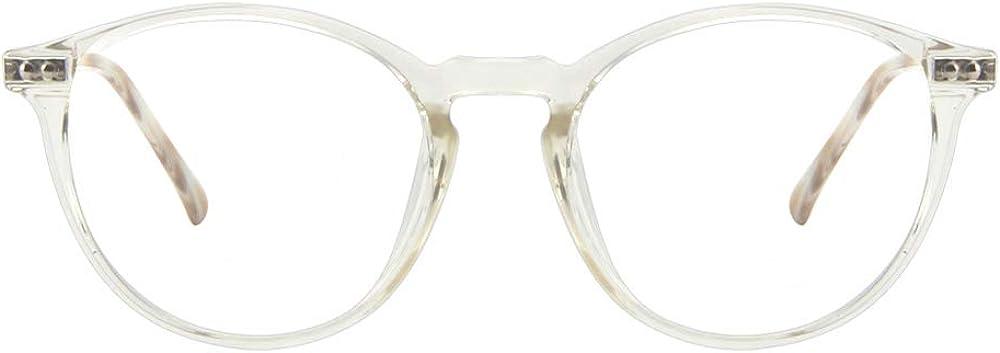 Cyxus Tr90 Gafas Luz Azul ,Ligero Flexible Monturas Gafas Filtro De Luz Azul Redondo Negro Monturas gafas Mujer Hombre(Anti Fatiga De Ojos Gafas Ordenador Luz Azul Lentes Transparentes)