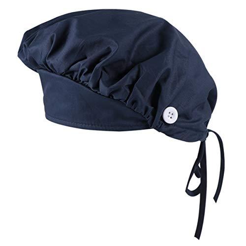 EXCEART Gorra de Trabajo con Banda para El Sudor Ajustable Corbata Sombreros Gorra a Prueba de Polvo Gorro de Cocinero Gorro de Cocina para Adultos Mujeres Hombres (Azul Marino)