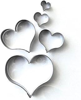 Lot de 5 emporte-pièces courbés et lisses en forme de cœur -Emporte-pièces en acier inoxydable
