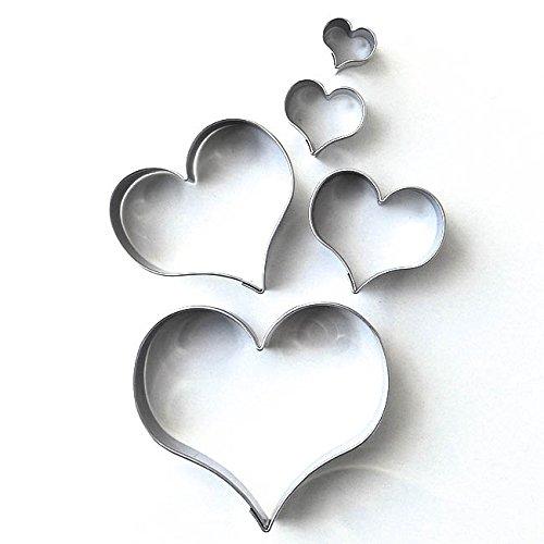 Markenlos Herz 5er Set glatt gebogen Terassen - Ausstecher, Ausstechform aus Edelstahl