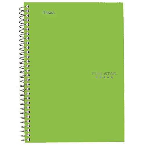 """Five Star Spiral Notebook, 2 Subject, College Ruled Paper, 100 sheets, 9-1/2"""" x 6"""", Lime (72134)"""