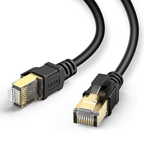J&D Cavo Ethernet Cat 8, Alta Velocità Categoria 8 Ethernet Patch Cavo Rete con Placcato Oro Snag-Free Connettori RJ45 per Modem Xbox Router PC Mac PS4-4.5 Meter