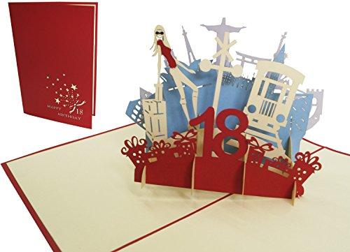 Lin Pop Up Cartes de vœux Anniversaire 18gebur Rot