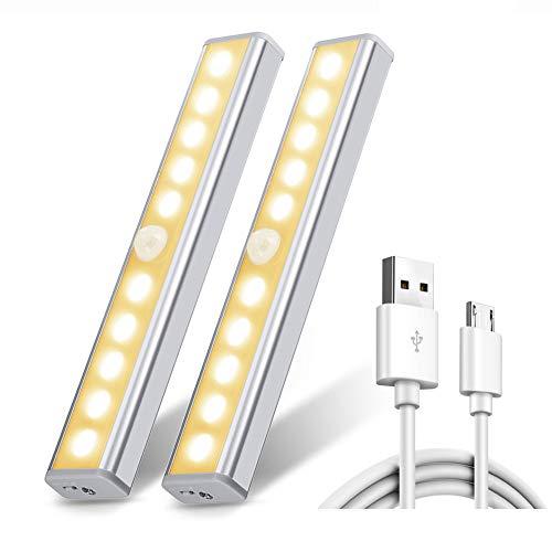 OmerIl Capteur de mouvement lumière, Rechargeable USB avec armoire lumière nuit 2 Pack