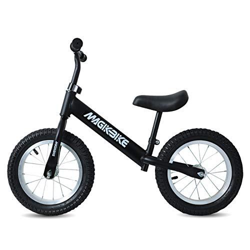 MAGIKBIKE Bicicletta Senza Pedali | Bici da Equilibrio | Prima Bici Senza Pedali | Balance Bike | Manubrio e Sedile Regolabili | De 3 a 5 Anni (Nera)
