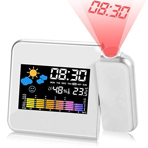 KIPIDA Wecker mit Projektion, LED Projektionswecker Projektion Digital USB-Aufladung/LCD Displaybeleuchtung/180 ° Projektion/Temperaturanzeige/Hygrometer/Uhrzeit Datumsanzeige (Weiß)