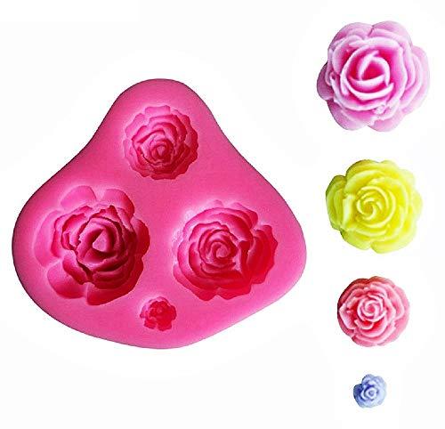 Stampo Silicone 4 Rose - Sapone - Resina - Gesso - Uso Artigianale Idea Regalo Natale Compleanno Festa