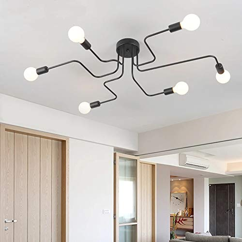 Lámpara de Techo LED Moderna de 6 brazos, Negro Araña de Techo Vintage, Industrial Lámparas de Araña de Metal con 6 luces E27 para Dormitorio, Sala de Estar, Comedor, Cocina, Cafetería