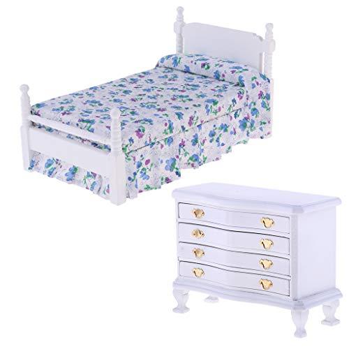 F Fityle Puppenhaus Möbel, Holz Miniatur Doppelbett mit Nachttisch, Puppenhaus Schlafzimmer Wohnzimmer Deko