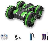 Modelo de juguete Juguete RC Car Racing, 2 en 1 360 Rotar los Coches de RC, 2.4G Control Remoto Stunt Car 2 Lados a Prueba de Agua Que Conduce en el Agua y la Tierra Anfibio (Color : Green)