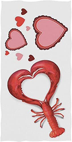 Stylish Lobster in Heart Shape Valentine's Day Soft Highly Absorbent Guest Large Home Decorative Hand Towels Multipurpose for Bathroom, Hotel, Gym and SPA (13.8×28.7 Inches)
