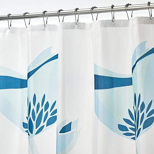 mDesign Duschvorhang aus wasserabweisendem Stoff – beschwerte Duschgardine für Dusche & Badewanne mit 183 cm x 183 cm – langlebiges Badzubehör mit verstärkten Löchern & Tulpenmotiv – blau